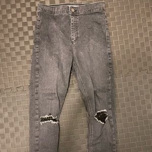TopShop Joni Jeans Grey Ripped Knees
